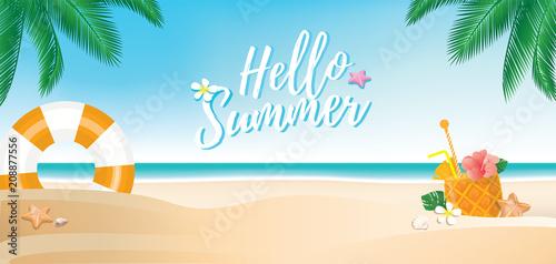 Beach banner background with hello summer text