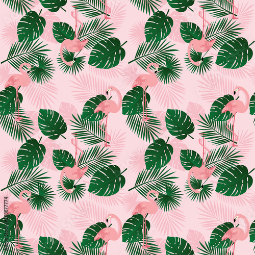 Summer pattern background with pink Flamingo birds