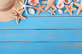 Tropical beach summer starfish top edge background border - 208883373