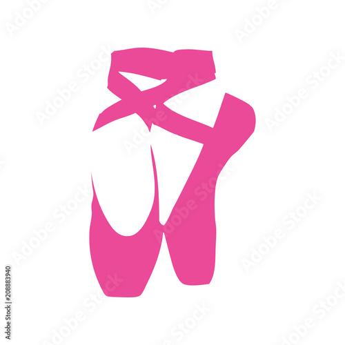 Icono plano zapatillas ballet en espacio negativo en color rosa © teracreonte