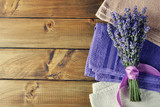 Towel and bunch of lavender - 208885396