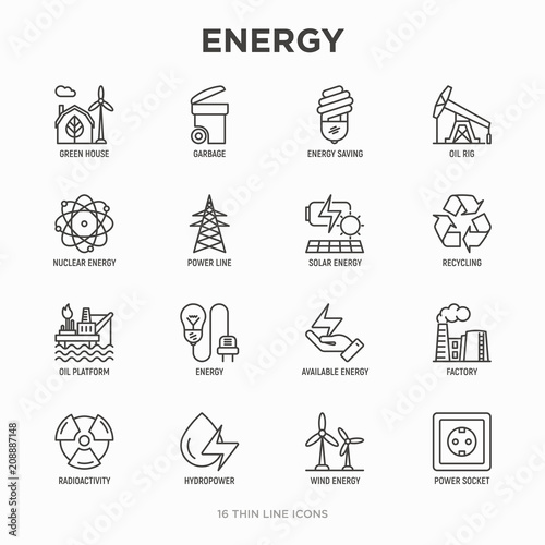 Energy Thin Line Icon Factory Oil Platform Hydropower Wind