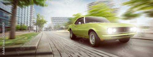 Vintage Auto unterwegs in der Stadt