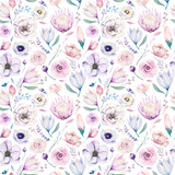 Seamless spring lilac watercolor floral pattern on a white background. Pink and rose flowers, weddind decoration illustration. - 208889159