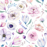 Seamless spring lilac watercolor floral pattern on a white background. Pink and rose flowers, weddind decoration illustration. - 208889930