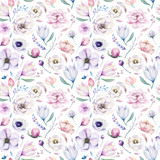 Seamless spring lilac watercolor floral pattern on a white background. Pink and rose flowers, weddind decoration illustration. - 208890178