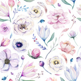 Seamless spring lilac watercolor floral pattern on a white background. Pink and rose flowers, weddind decoration illustration. - 208890368