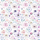 Seamless spring lilac watercolor floral pattern on a white background. Pink and rose flowers, weddind decoration illustration. - 208890593
