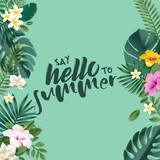Hello summer vector illustration for background, mobile and social media banner, summertime card, party invitation template. Lettering summer concept with natural elements. - 208890788