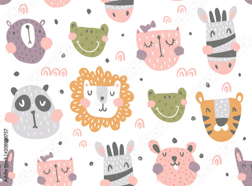 fototapeta na ścianę nursery animals pattern