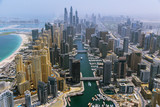 Aerial view of modern skyscrapers and sea in the background, Dubai, UAE. - 208890934