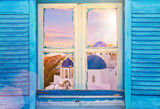 Beautiful vintage Greek window with blue shutters. Typical Greek picture. - 208891175