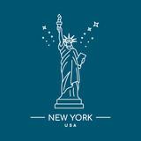 Statue of Liberty vector illustration. Line art. New York, USA landmark. - 208892127