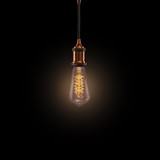 Vintage light bulb on dark background. - 208892581