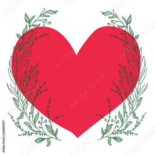 Aluminium Positive Typography Vector template for greeting card. Composition with big red heart and broad green branches on a white background. Good for postcards, the web and other any design.