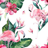 Tropical seamless floral summer pattern background with tropical palm leaves, pink flamingo bird, exotic hibiscus. Perfect for jungle wallpapers, fashion textile design, fabric print. - 208896359