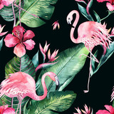 Tropical seamless floral summer pattern background with tropical palm leaves, pink flamingo bird, exotic hibiscus. Perfect for jungle wallpapers, fashion textile design, fabric print. - 208896532