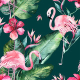 Tropical seamless floral summer pattern background with tropical palm leaves, pink flamingo bird, exotic hibiscus. Perfect for jungle wallpapers, fashion textile design, fabric print. - 208896776