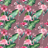 Tropical seamless floral summer pattern background with tropical palm leaves, pink flamingo bird, exotic hibiscus. Perfect for jungle wallpapers, fashion textile design, fabric print. - 208896959