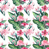 Tropical seamless floral summer pattern background with tropical palm leaves, pink flamingo bird, exotic hibiscus. Perfect for jungle wallpapers, fashion textile design, fabric print. - 208897175