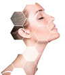 Beautiful female face in honeycombs. Spa concept.