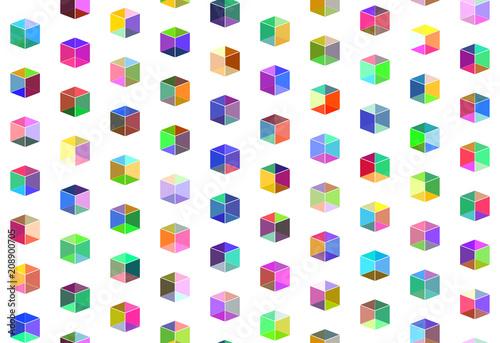 varicolored  transparent cubes, seamless pattern - 208900705