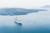 Cruise ship near the sea coast of Santorini island, Greece. - 208901174