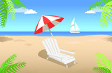 Sunbed with Umbrella on Sandy Beach in Summertime - 208902169
