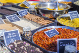 Aix-en-Provence, FRANCE, on March 6, 2018. Spices, typical for Provence, and seasoning are laid out on counters of the Sunday market  - 208902183