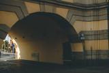 Tunnel beneath the building. Wroclaw, Poland