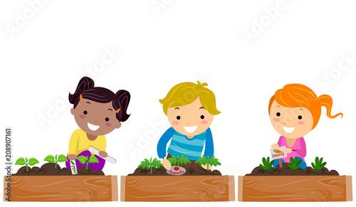 Stickman Kids Garden Markers Illustration - 208907161