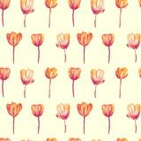Seamless pattern. Botanical illustration. Watercolor tulips isolated on white background - 208909902