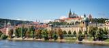 Panorama of Prague castle and the Vltava river, Czech Republic - 208909947