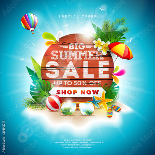 Summer Sale Design with Flower and Beach Holiday Elements on Blue Background. Tropical Floral Vector Illustration with Special Offer Typography on Vintage Wood Board for Coupon, Voucher, Banner, Flyer - 208912714