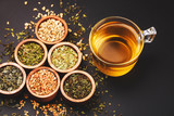 Assortment of dry tea in little bowls - 208913739