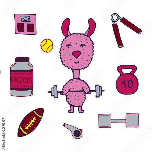 Hand-drawn lama the athlete with a bar and sports equipment.