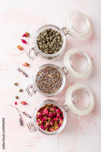 Fotobehang Lavendel Rose flower petals and buds for aromatherapy.