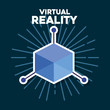 Virtual reality design with 3D objects symbol over blue background, colorful design. vector illustration