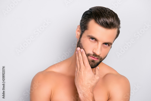 Leinwanddruck Bild Attractive, brutal, modern, manly, virile, confident, dreamy, naked man touching his perfect, ideal face skin, holding hand on beard, cheek, looking at camera, isolated over gray background