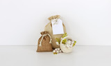 Bags with empty tag mockup, flowers - 208922959