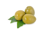 pickled olives with leaves on white background