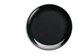 Black Empty Ceramic Plate on isolated on white background. - 208934391
