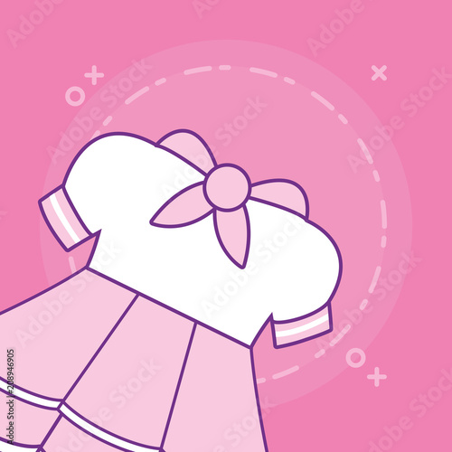 Anime girl costume icon over pink background, colorful line design. vector illustration - 208946905