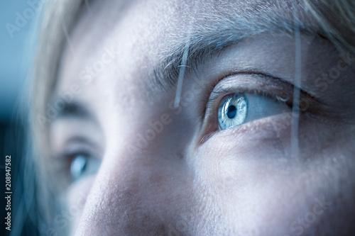 canvas print picture Blaue Augen und Wimpern natürlich, Blick