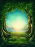 Fototapeta Fototapeta las, drzewa - Dark magic forest © Elena Schweitzer