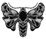 Decorative black and white butterfly illustration card
