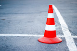Road cone in the parking lot