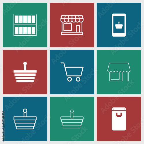 Collection of 9 supermarket filled and outline icons