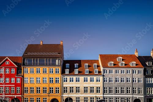 beautiful historical houses against blue sky at sunny day, copenhagen, denmark - 208949949