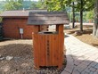wood trash can with roof - 208951503